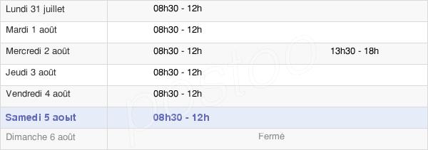 horaires d'ouverture de la Mairie De Chapareillan