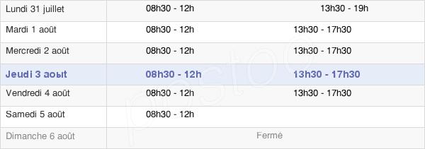 horaires d'ouverture de la Mairie De Pierrefitte-Sur-Seine