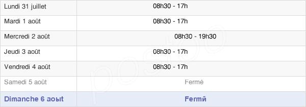 horaires d'ouverture de la Mairie De Villemomble