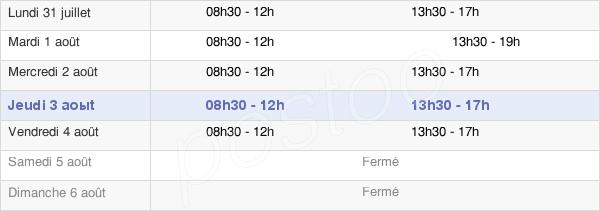 horaires d'ouverture de la Mairie De Sainte-Tulle