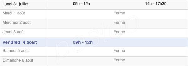 horaires d'ouverture de la Mairie De Clamensane