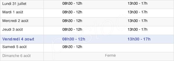 horaires d'ouverture de la Mairie De Sainte-Anne-D'Auray