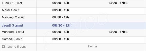horaires d'ouverture de la Mairie De Locmaria-Grand-Champ