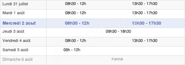 horaires d'ouverture de la Mairie De Saint-Avé