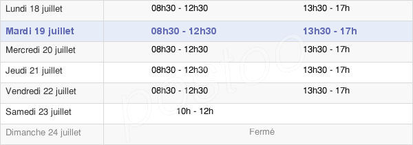 horaires d'ouverture de la Mairie De Carnac