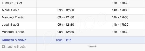 horaires d'ouverture de la Mairie De Josselin