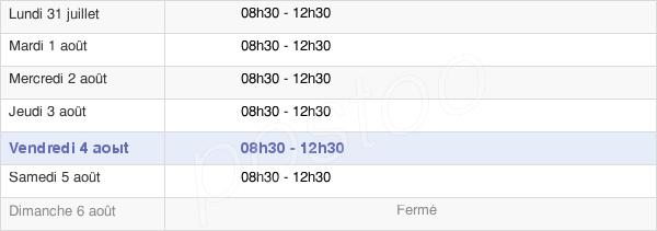 horaires d'ouverture de la Mairie De Pleugriffet