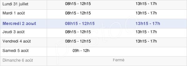 horaires d'ouverture de la Mairie De Vannes