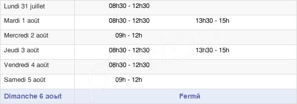 horaires d'ouverture de la Mairie De Saint-Gravé