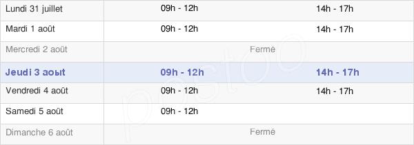 horaires d'ouverture de la Mairie De Quelneuc