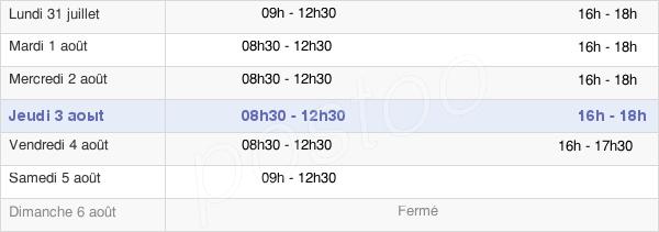 horaires d'ouverture de la Mairie De Saint-Thuriau