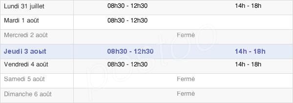 horaires d'ouverture de la Mairie De Cruguel