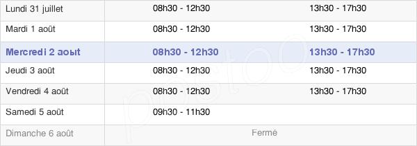 horaires d'ouverture de la Mairie D'Auray