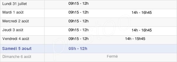 horaires d'ouverture de la Mairie De Pénestin