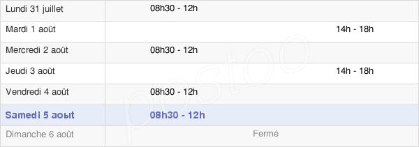horaires d'ouverture de la Mairie De Marzan