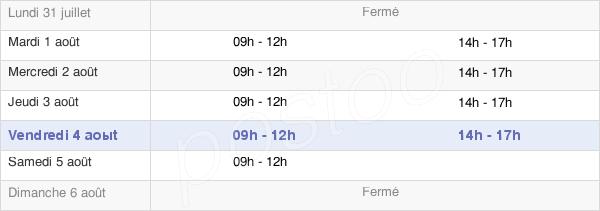 horaires d'ouverture de la Mairie Du Croisty