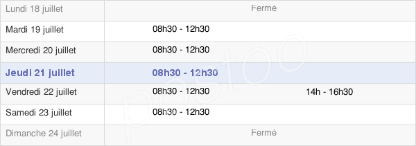 horaires d'ouverture de la Mairie De Larmor-Baden
