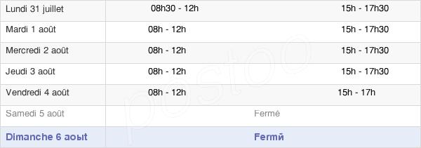 horaires d'ouverture de la Mairie De Brandivy