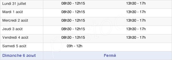 horaires d'ouverture de la Mairie De Sérent
