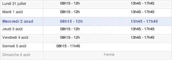 horaires d'ouverture de la Mairie D'Inzinzac-Lochrist