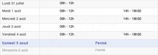 horaires d'ouverture de la Mairie De Brandérion