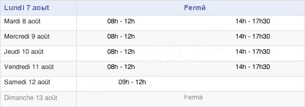 horaires d'ouverture de la Mairie De Saint-Jacut-Les-Pins