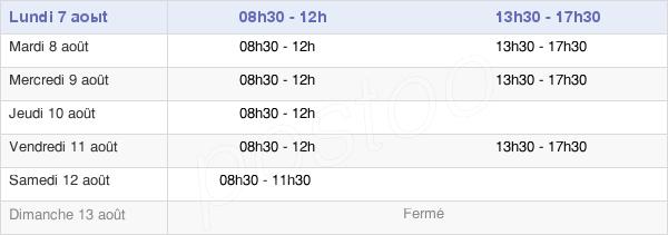 horaires d'ouverture de la Mairie De Monterblanc