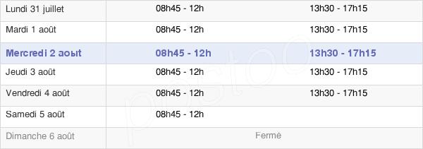 horaires d'ouverture de la Mairie De Pont-Scorff