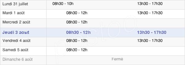 horaires d'ouverture de la Mairie De Guénin
