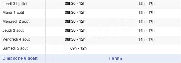 horaires d'ouverture de la Mairie De Malestroit