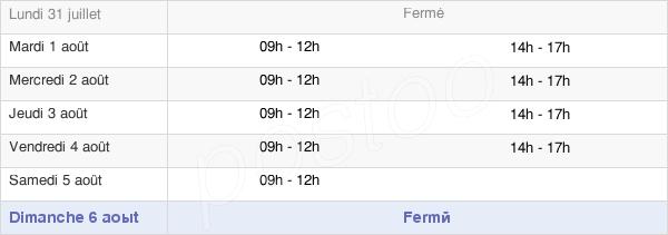horaires d'ouverture de la Mairie De Moustoir-Ac
