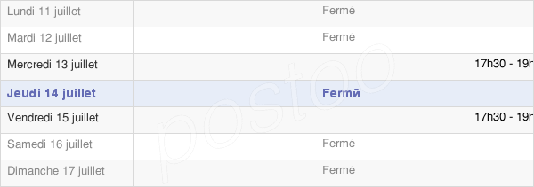 horaires d'ouverture de la Mairie De Berneuil