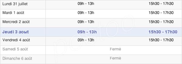 horaires d'ouverture de la Mairie De Moustoir-Remungol