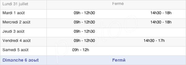 horaires d'ouverture de la Mairie De Saint-Vincent-Sur-Oust