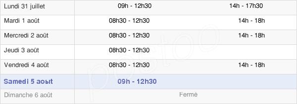 horaires d'ouverture de la Mairie De Larré