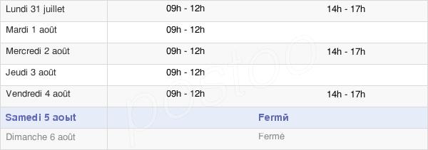horaires d'ouverture de la Mairie De Bieuzy