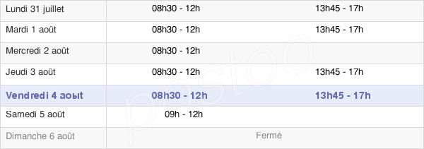 horaires d'ouverture de la Mairie Du Palais