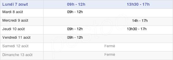 horaires d'ouverture de la Mairie De Tréal
