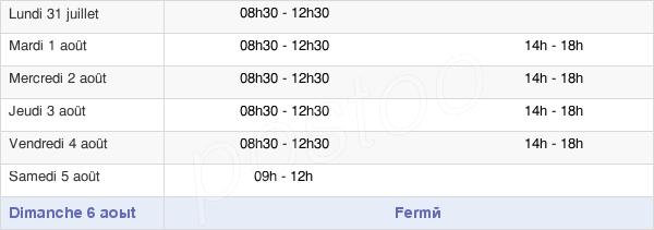 horaires d'ouverture de la Mairie De Malansac