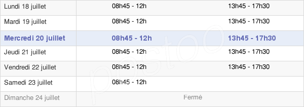 horaires d'ouverture de la Mairie De Pluvigner