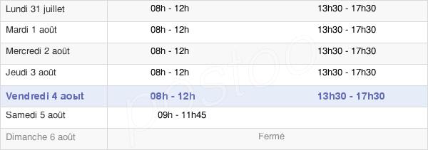 horaires d'ouverture de la Mairie De Lanester