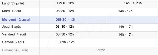 horaires d'ouverture de la Mairie De Priziac