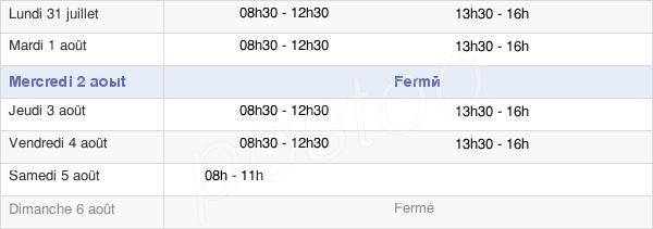 horaires d'ouverture de la Mairie De Saint-Allouestre