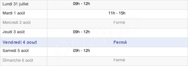 horaires d'ouverture de la Mairie D'Estivareilles