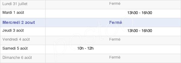 horaires d'ouverture de la Mairie D'Apinac