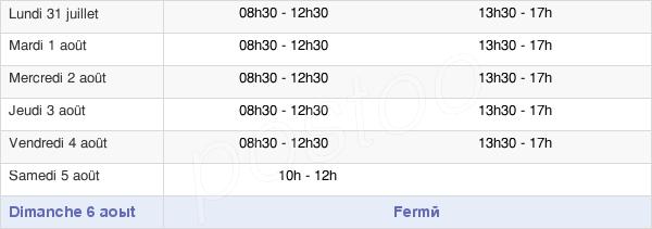 horaires d'ouverture de la Mairie De Montbrison