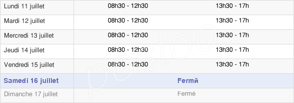 horaires d'ouverture de la Mairie De Boën-Sur-Lignon
