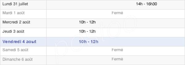 horaires d'ouverture de la Mairie De Saint-Sixte