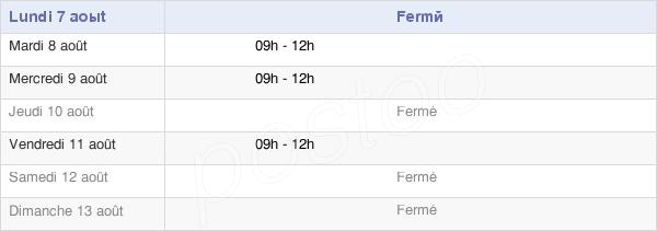 horaires d'ouverture de la Mairie De Bard