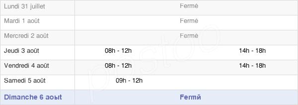 horaires d'ouverture de la Mairie De Chandon
